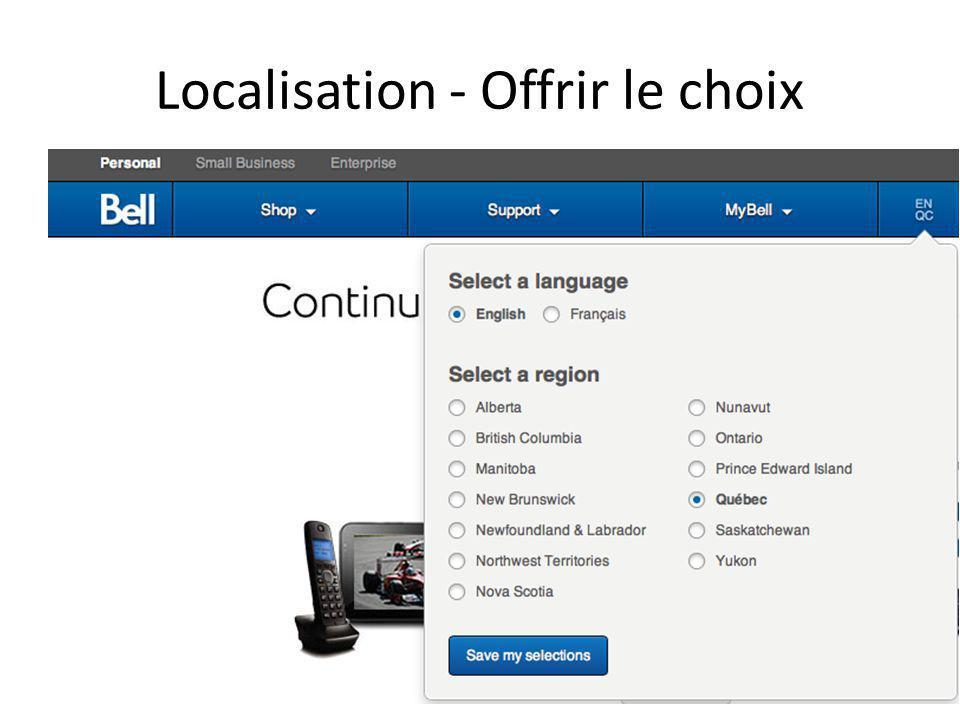 Localisation - Offrir le choix