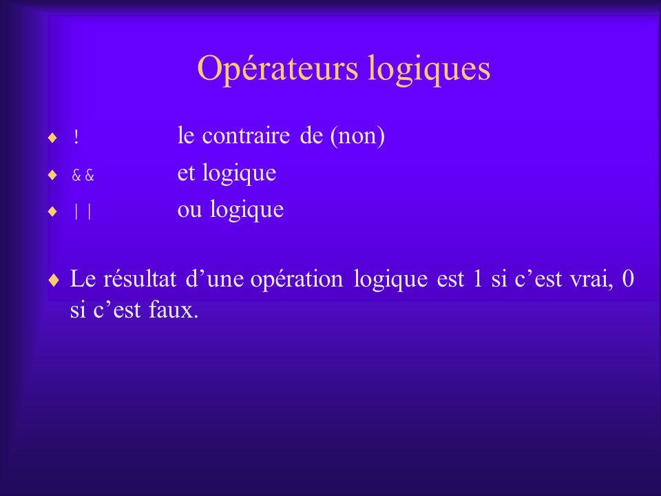 Opérateurs logiques ! le contraire de (non) && et logique. || ou logique.
