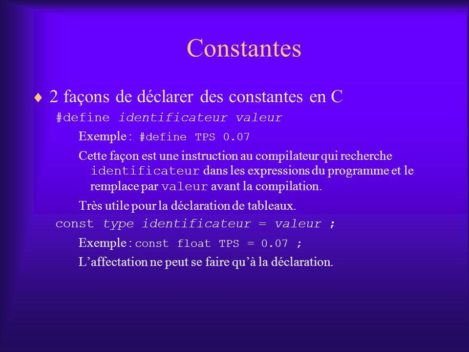 Constantes 2 façons de déclarer des constantes en C