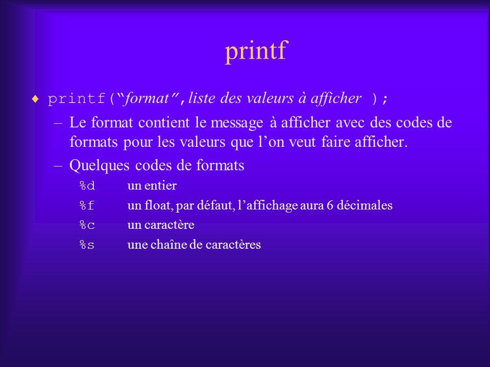 printf printf( format ,liste des valeurs à afficher );