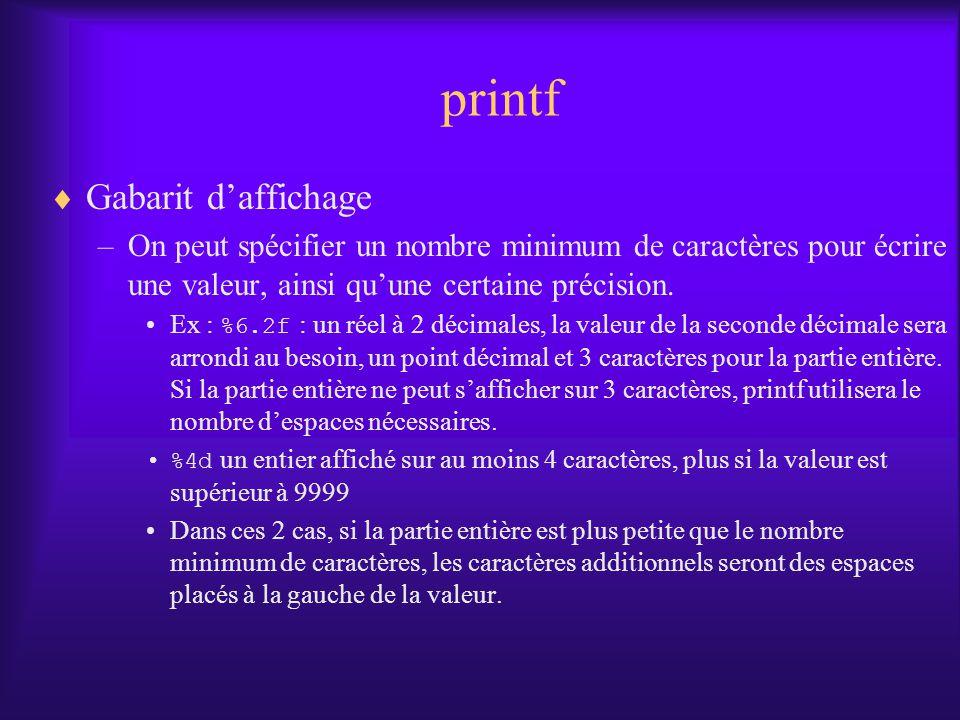 printf Gabarit d'affichage