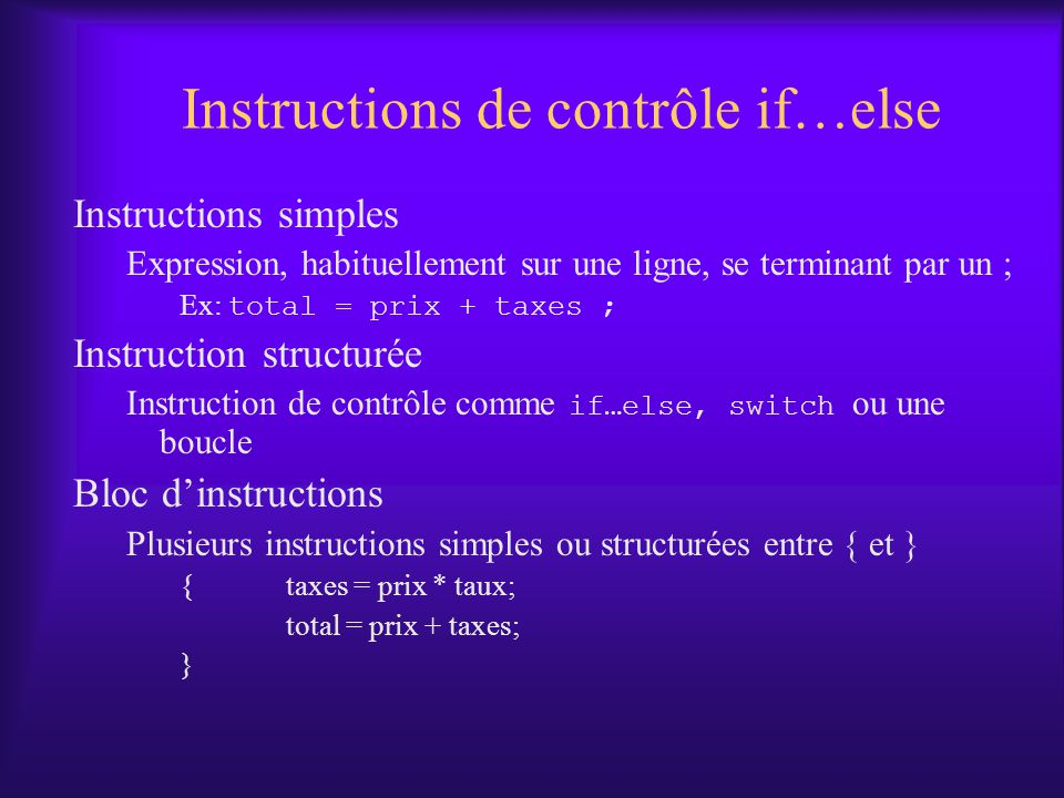 Instructions de contrôle if…else