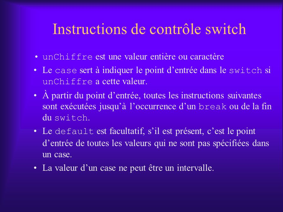 Instructions de contrôle switch