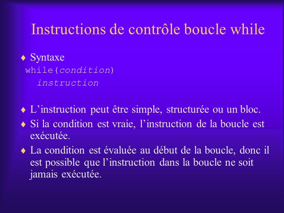 Instructions de contrôle boucle while