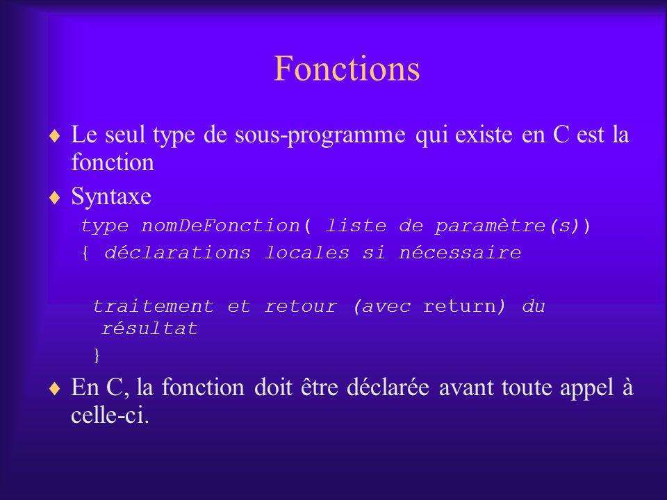 Fonctions Le seul type de sous-programme qui existe en C est la fonction. Syntaxe. type nomDeFonction( liste de paramètre(s))