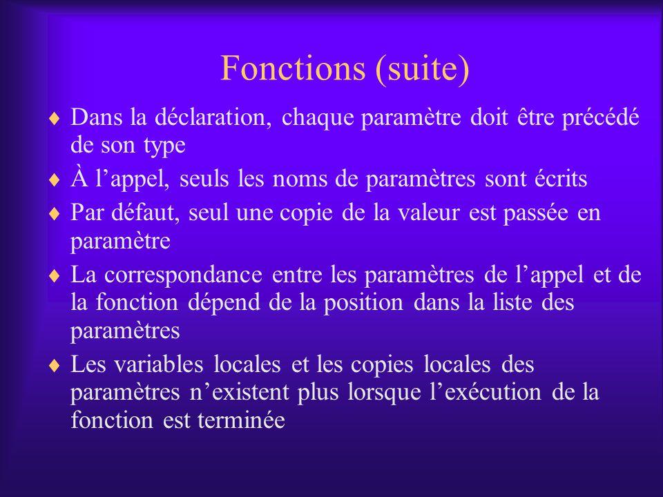 Fonctions (suite) Dans la déclaration, chaque paramètre doit être précédé de son type. À l'appel, seuls les noms de paramètres sont écrits.