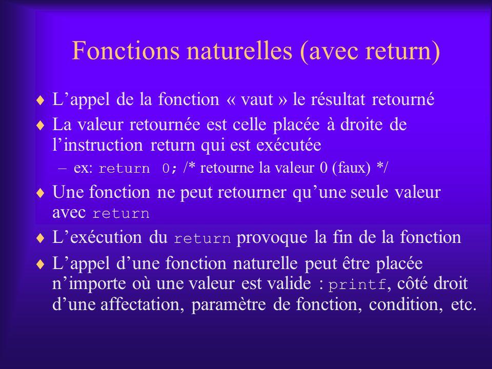 Fonctions naturelles (avec return)