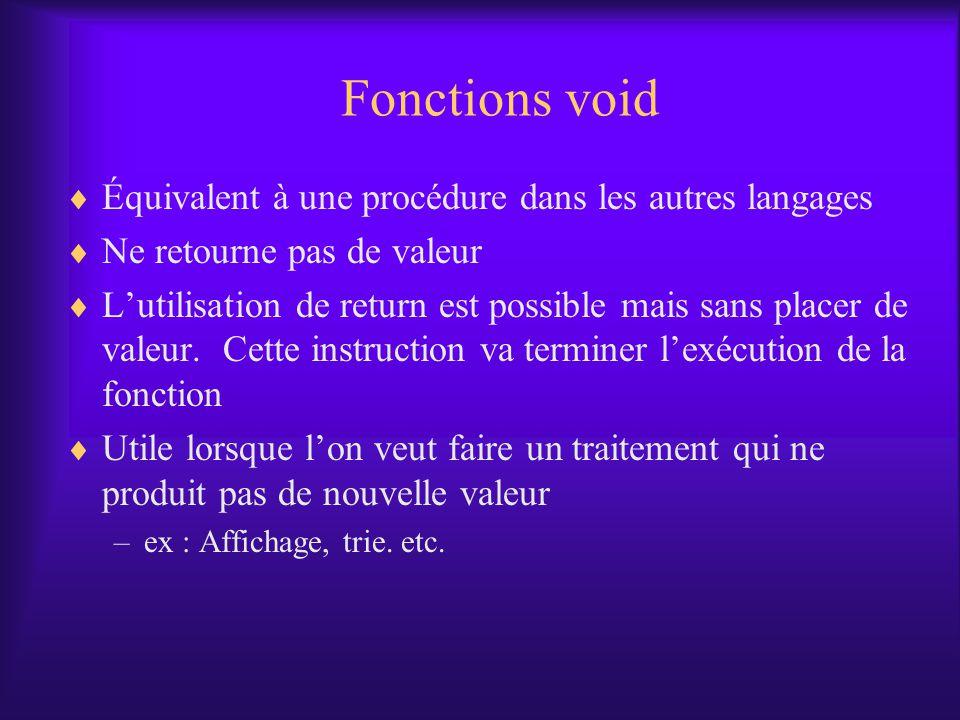 Fonctions void Équivalent à une procédure dans les autres langages