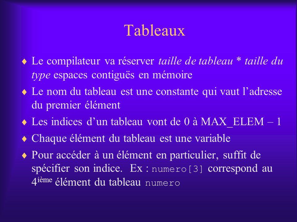 Tableaux Le compilateur va réserver taille de tableau * taille du type espaces contiguës en mémoire.