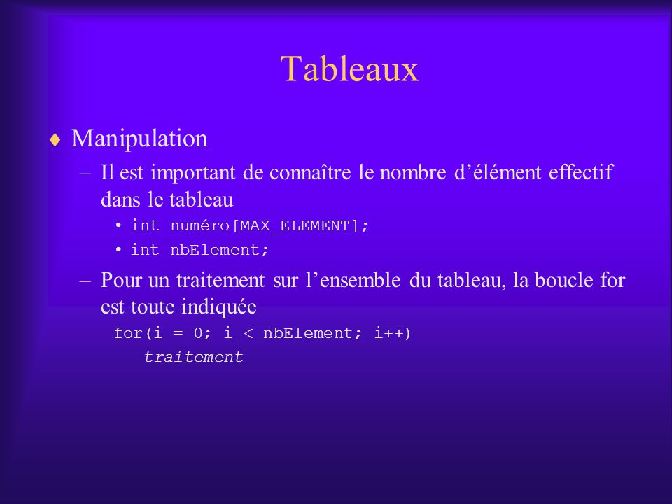 Tableaux Manipulation