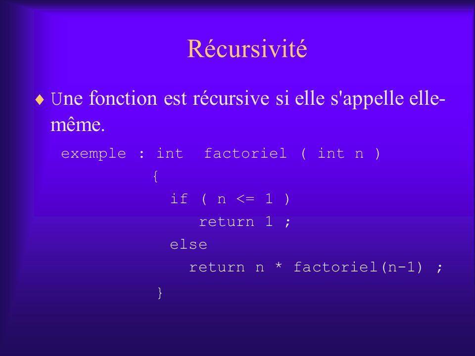 Récursivité Une fonction est récursive si elle s appelle elle-même.