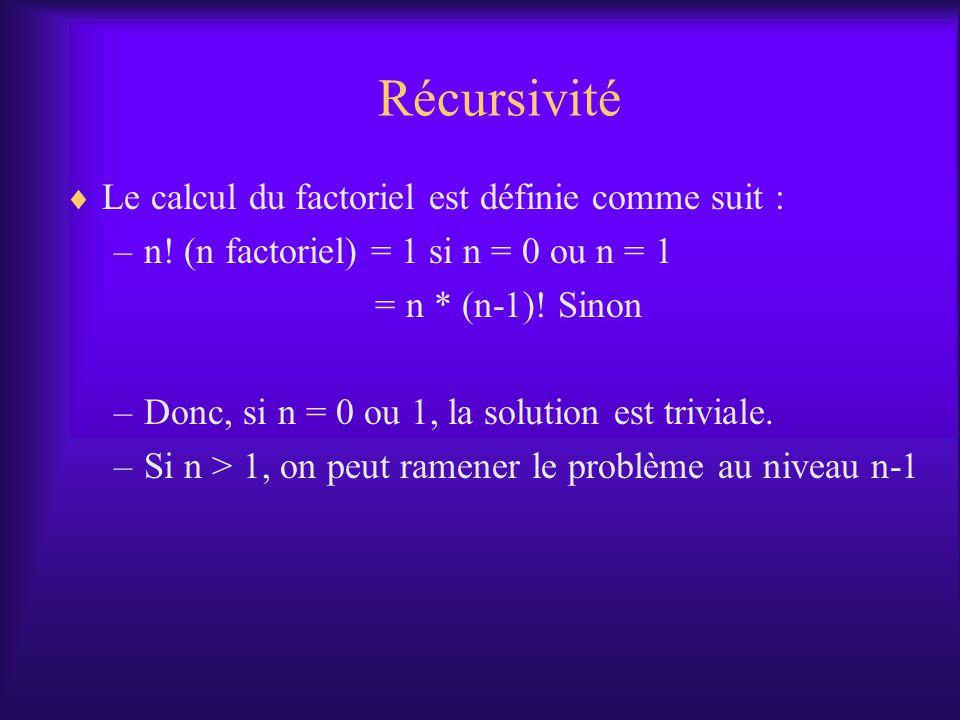 Récursivité Le calcul du factoriel est définie comme suit :