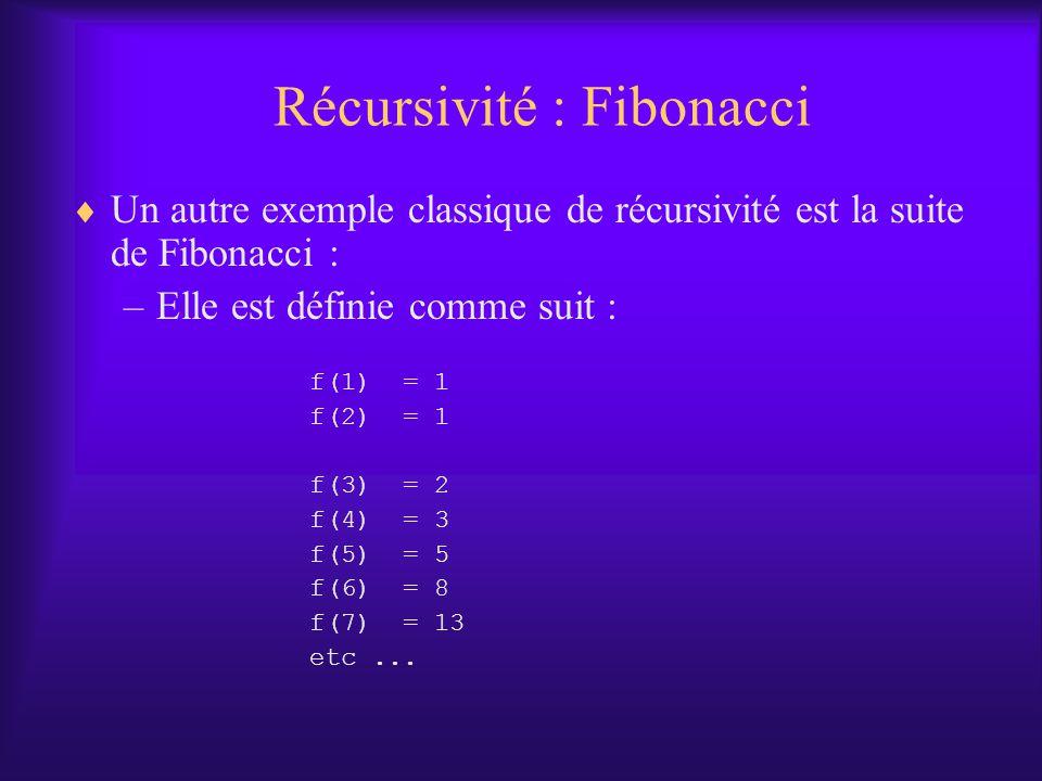 Récursivité : Fibonacci