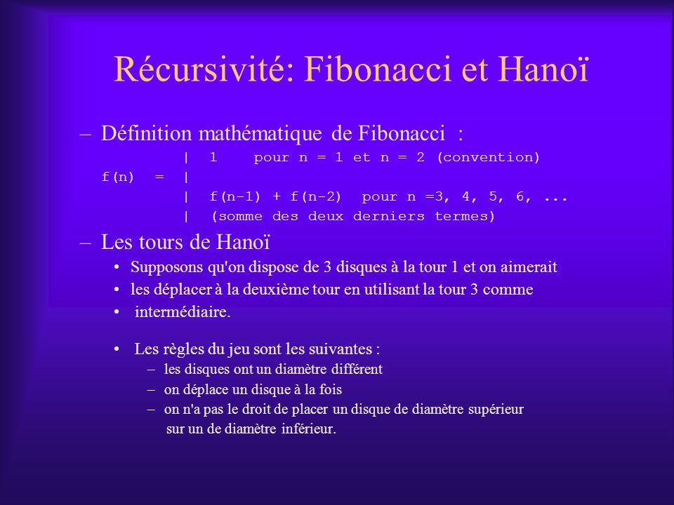 Récursivité: Fibonacci et Hanoï
