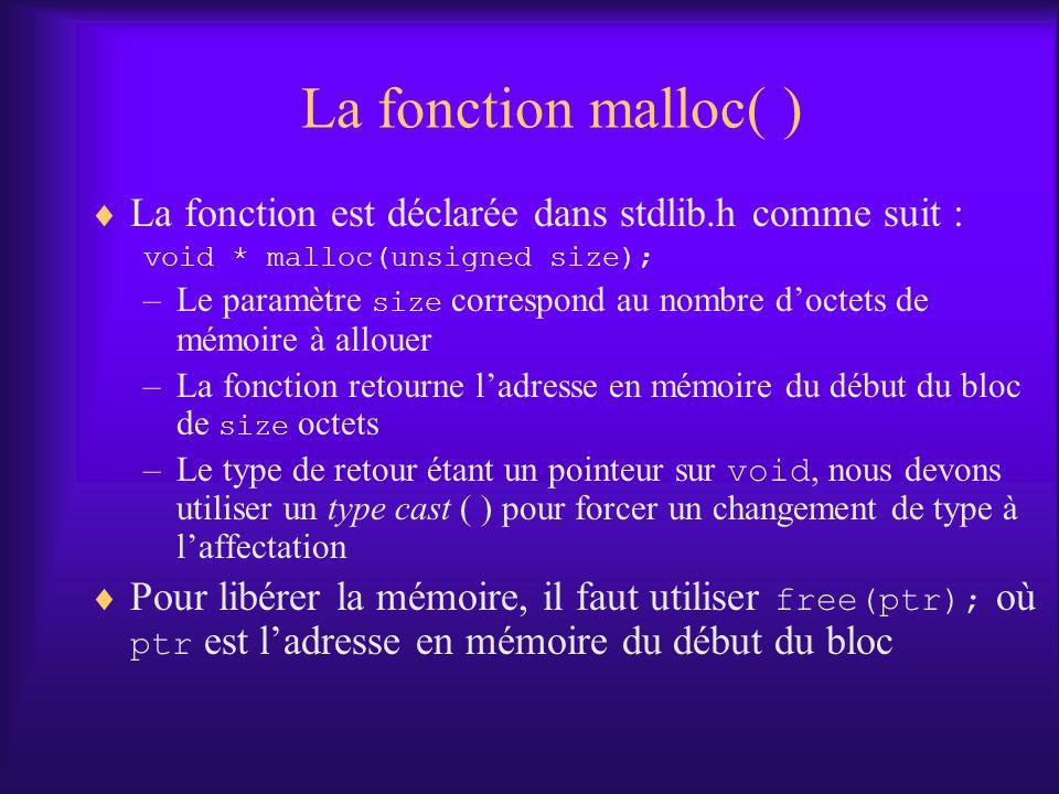 La fonction malloc( ) La fonction est déclarée dans stdlib.h comme suit : void * malloc(unsigned size);