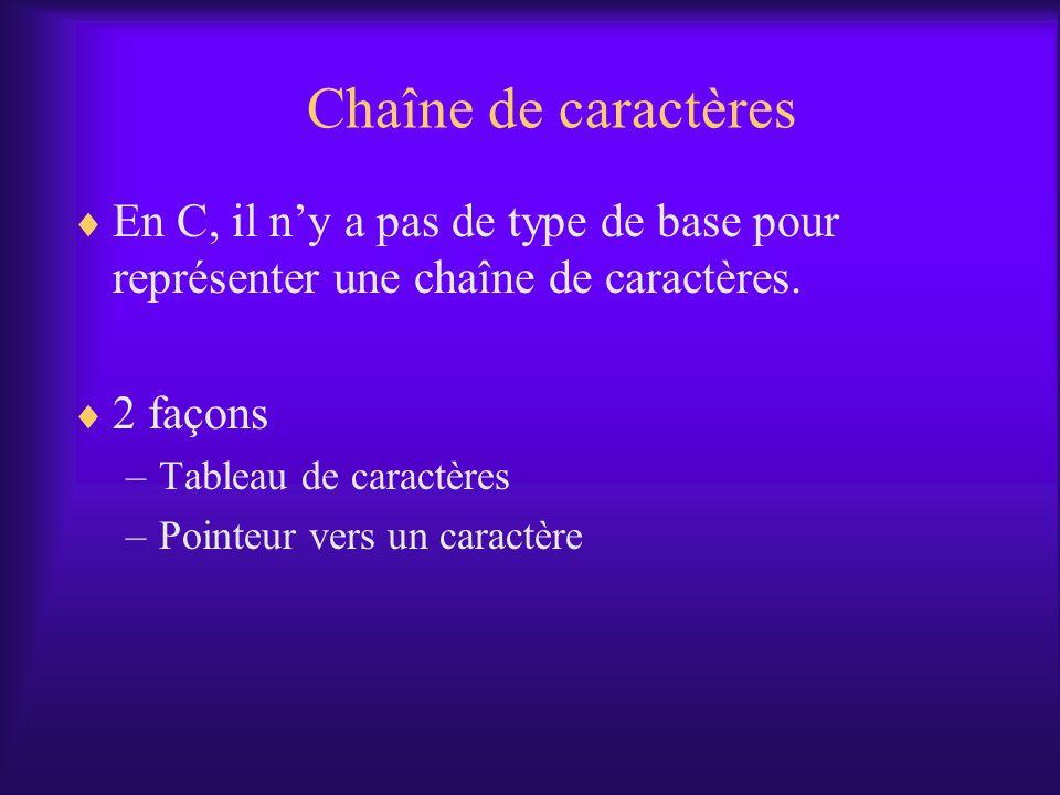 Chaîne de caractères En C, il n'y a pas de type de base pour représenter une chaîne de caractères. 2 façons.