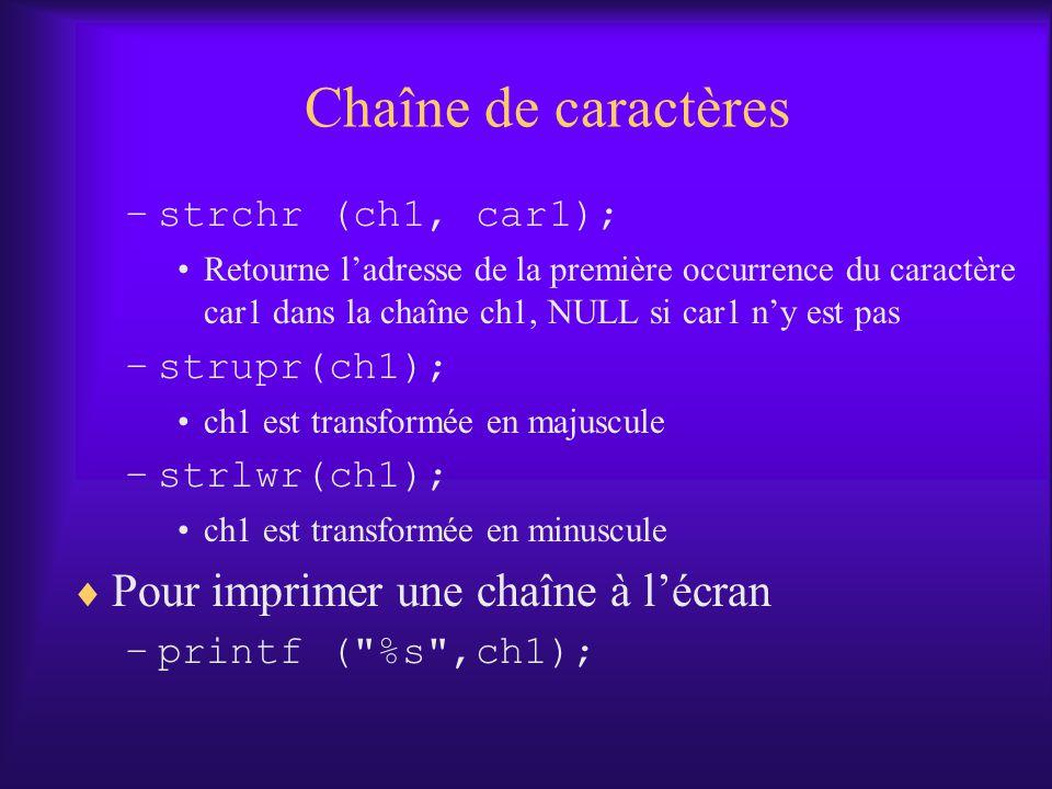 Chaîne de caractères Pour imprimer une chaîne à l'écran