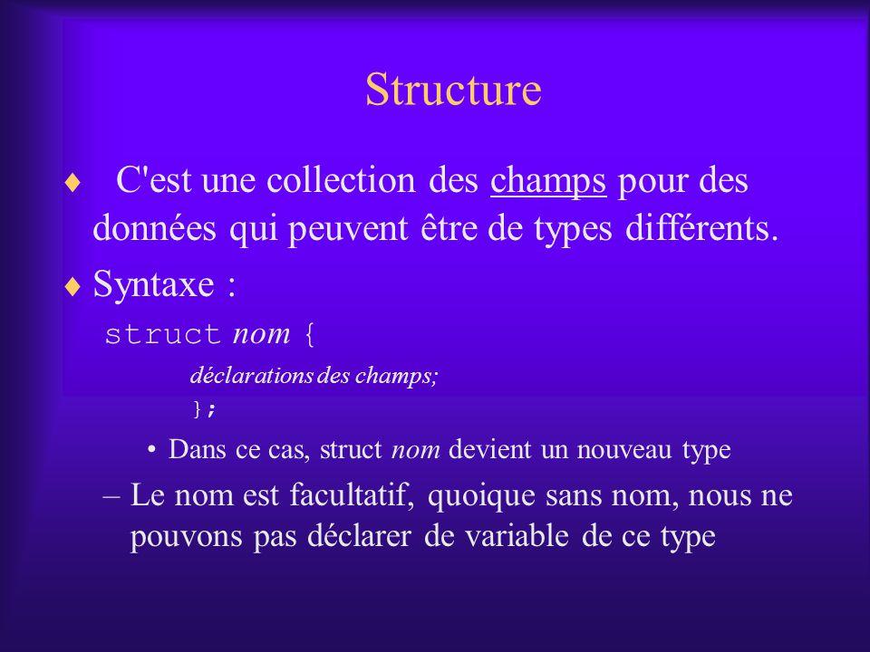 Structure C est une collection des champs pour des données qui peuvent être de types différents. Syntaxe :