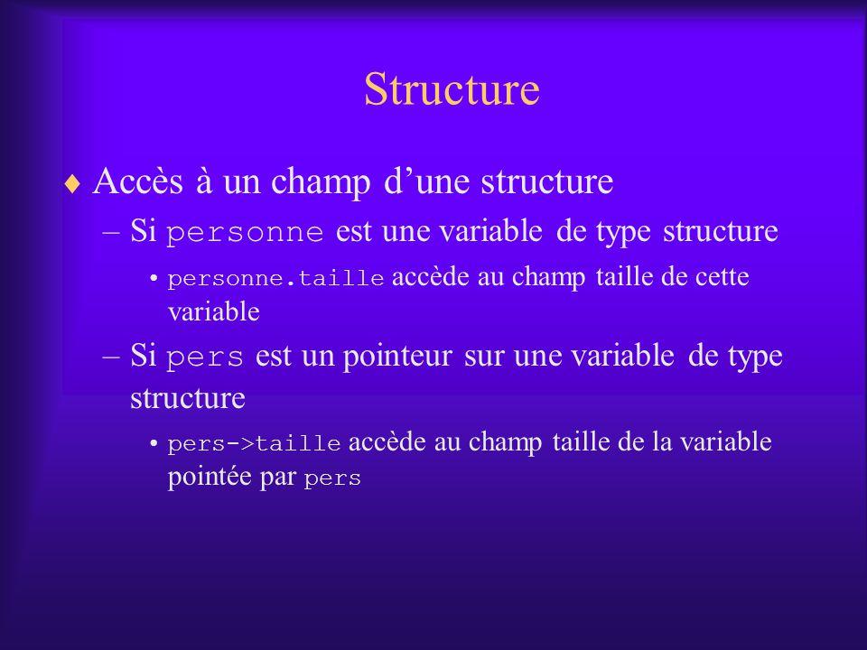 Structure Accès à un champ d'une structure
