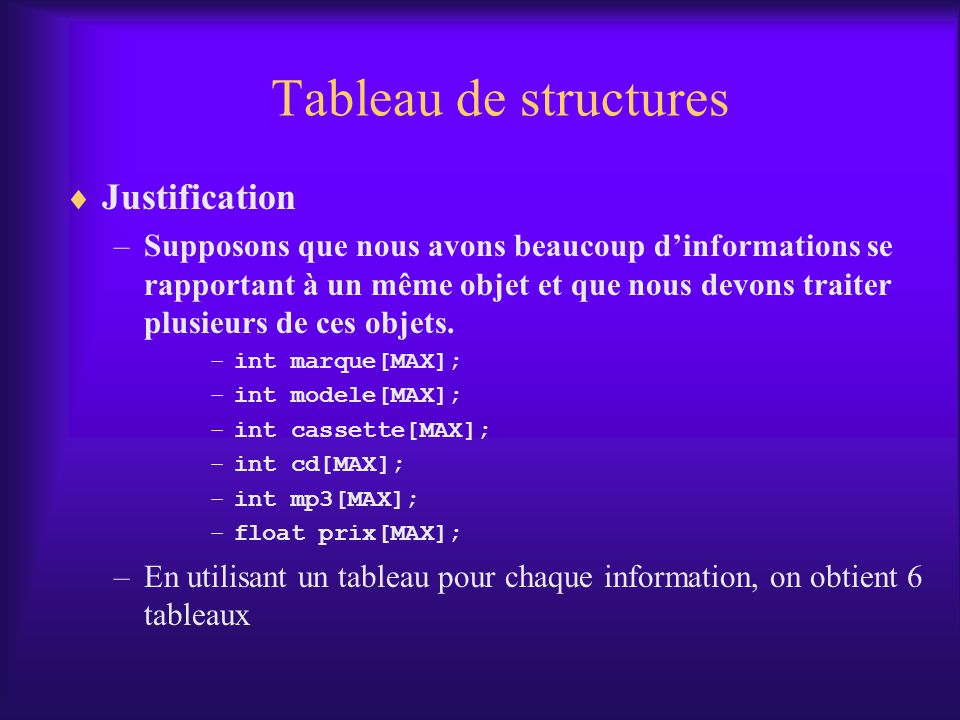 Tableau de structures Justification