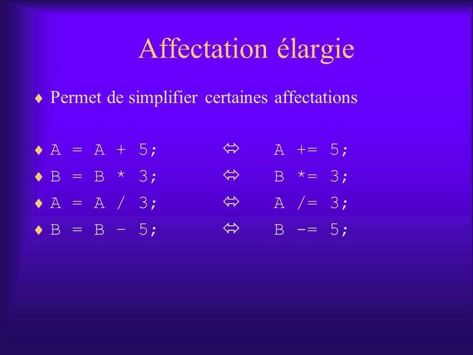 Affectation élargie Permet de simplifier certaines affectations