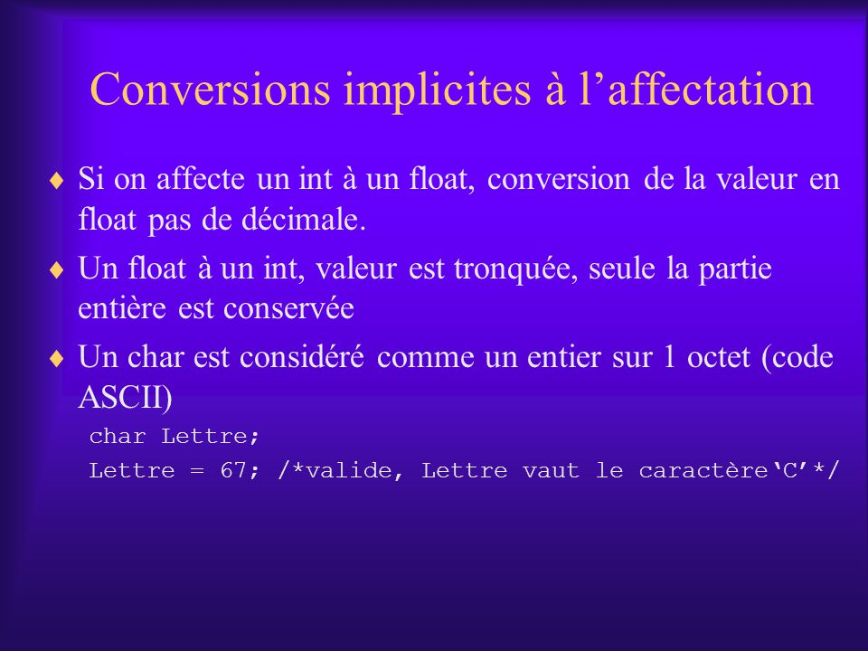 Conversions implicites à l'affectation