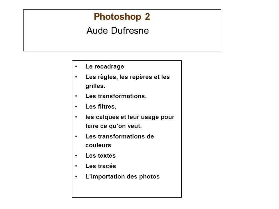 Photoshop 2 Aude Dufresne Le recadrage