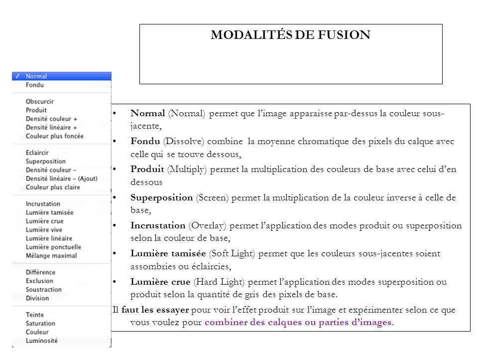 MODALITÉS DE FUSION Normal (Normal) permet que l'image apparaisse par-dessus la couleur sous-jacente,