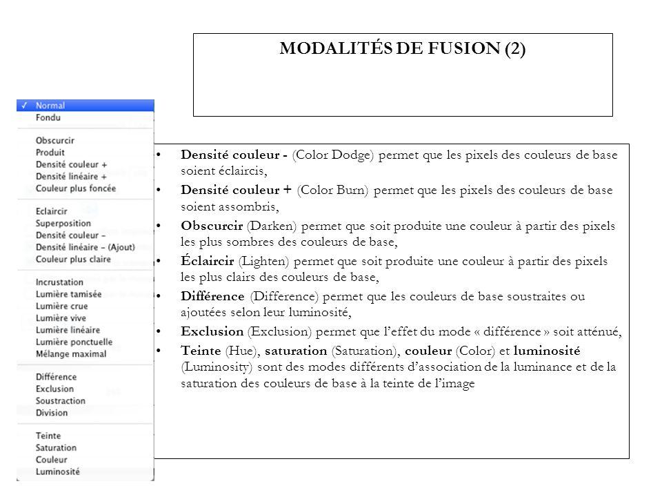MODALITÉS DE FUSION (2) Densité couleur - (Color Dodge) permet que les pixels des couleurs de base soient éclaircis,