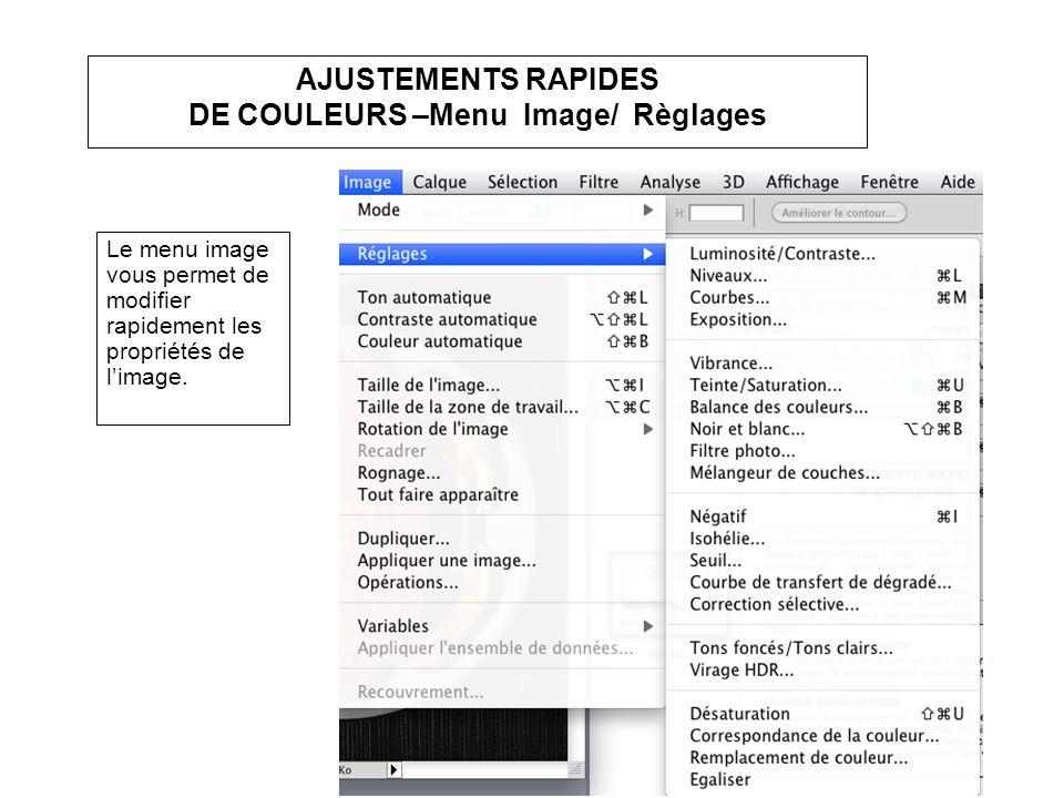 AJUSTEMENTS RAPIDES DE COULEURS –Menu Image/ Règlages