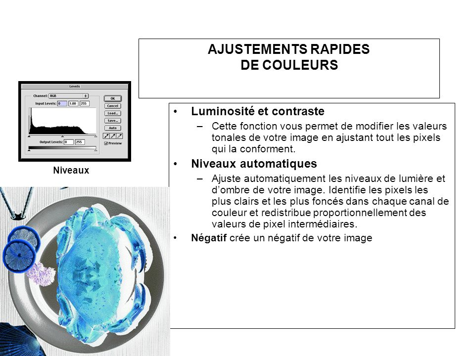AJUSTEMENTS RAPIDES DE COULEURS