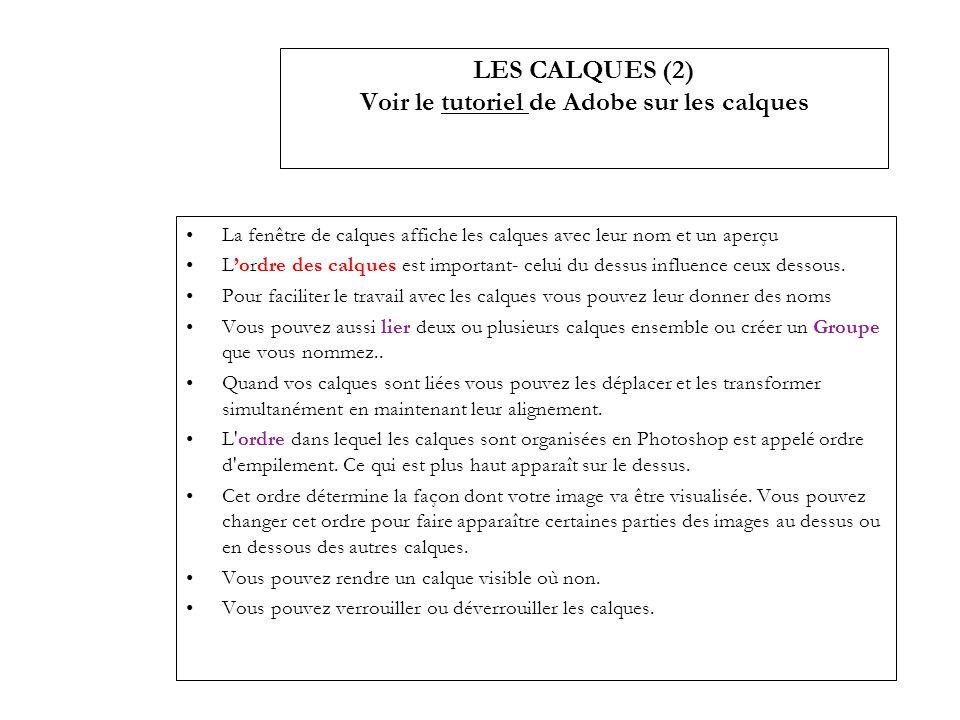 LES CALQUES (2) Voir le tutoriel de Adobe sur les calques