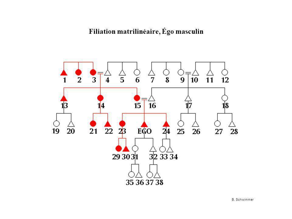 Filiation matrilinéaire, Égo masculin