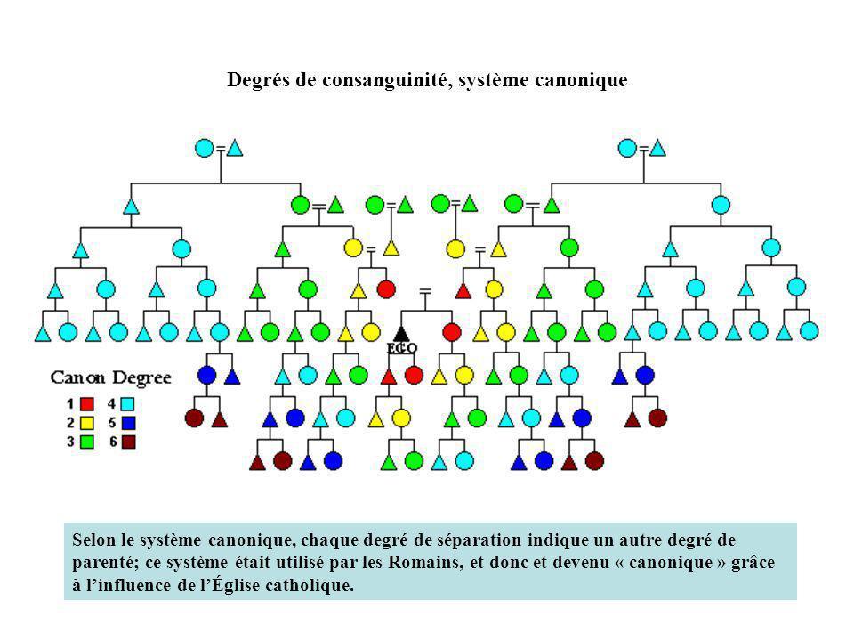 Degrés de consanguinité, système canonique