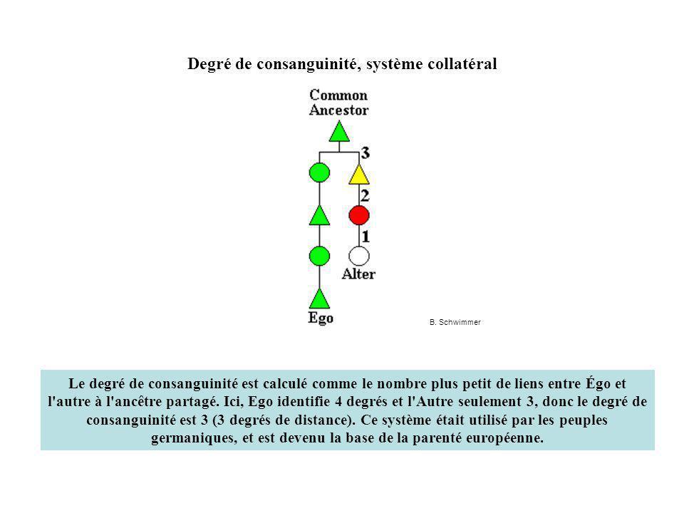 Degré de consanguinité, système collatéral