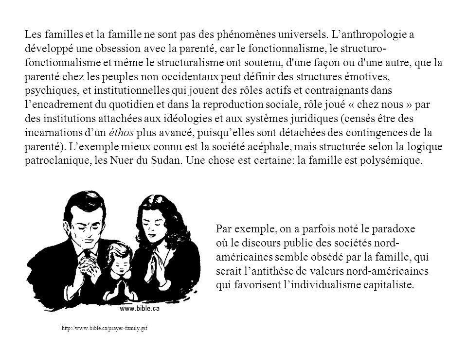 Les familles et la famille ne sont pas des phénomènes universels