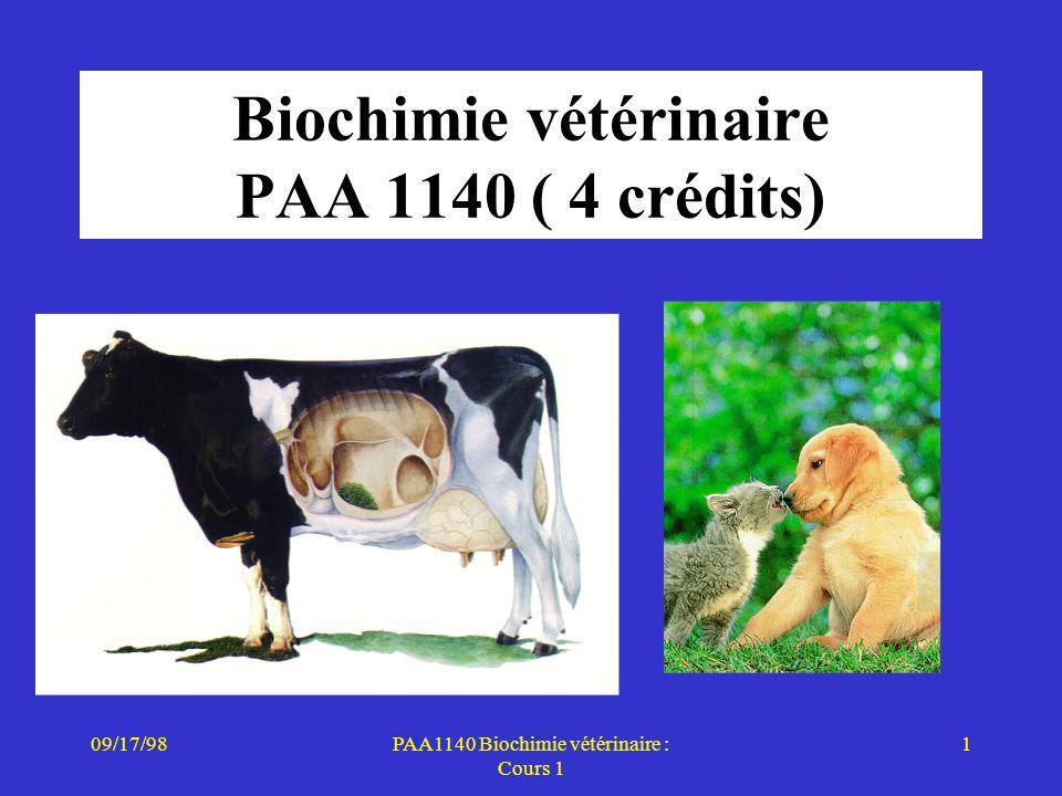 Biochimie vétérinaire PAA 1140 ( 4 crédits)