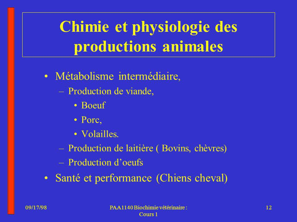 Chimie et physiologie des productions animales