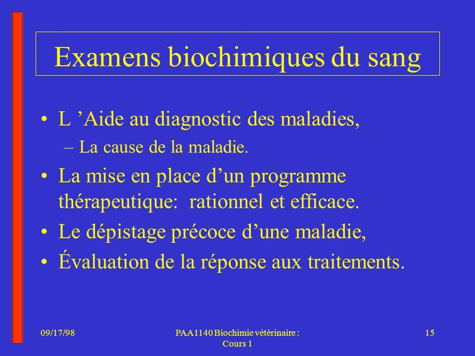 Examens biochimiques du sang