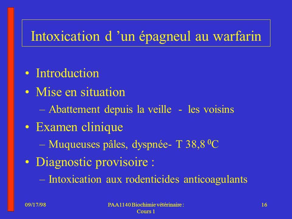 Intoxication d 'un épagneul au warfarin