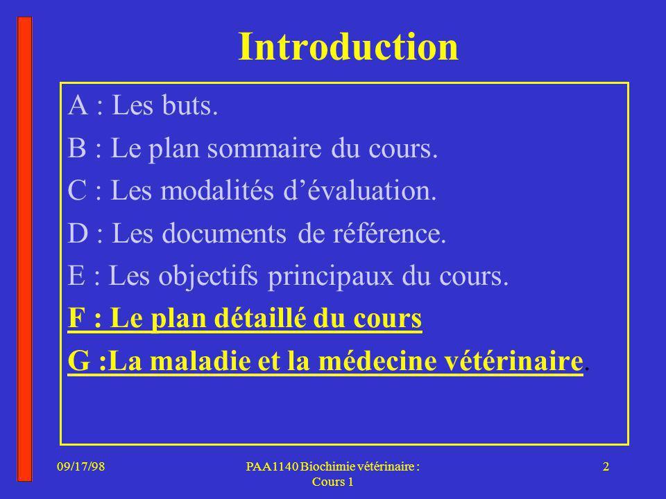 PAA1140 Biochimie vétérinaire : Cours 1