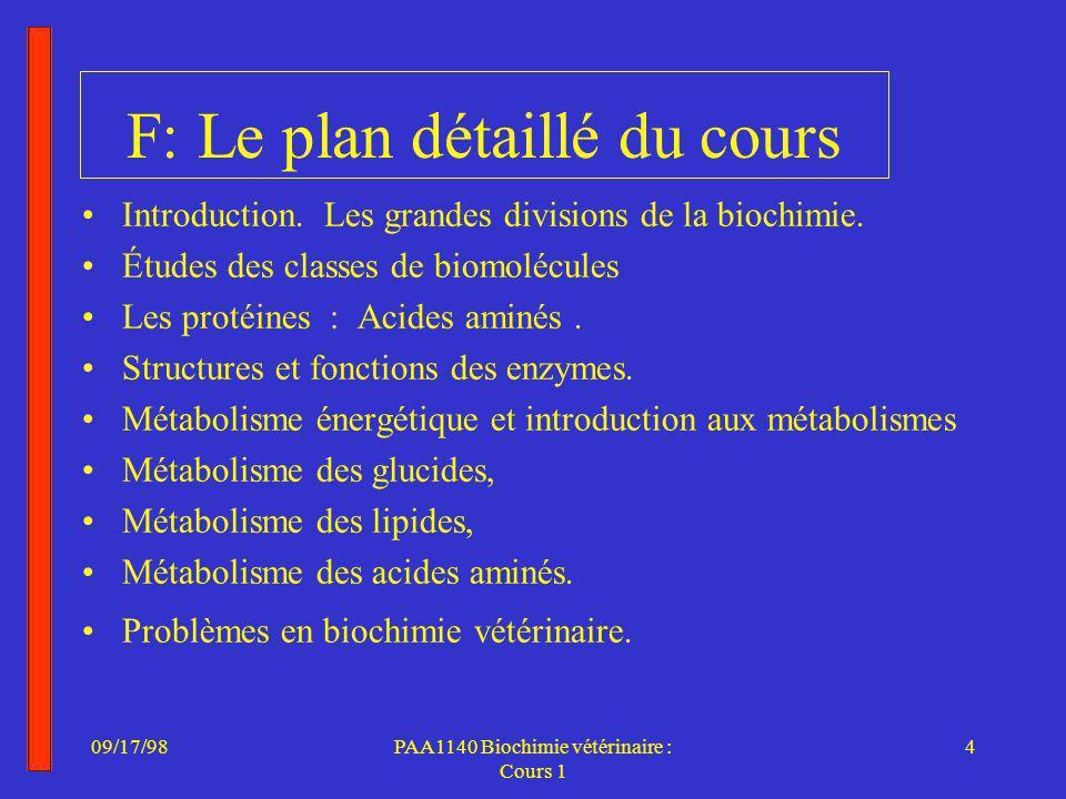 F: Le plan détaillé du cours