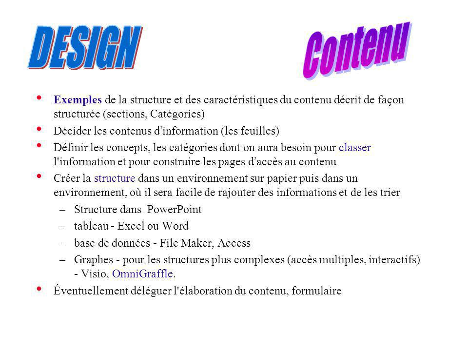 Contenu DESIGN. Exemples de la structure et des caractéristiques du contenu décrit de façon structurée (sections, Catégories)