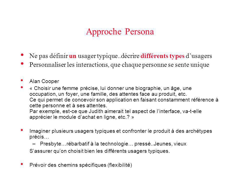 Approche Persona Ne pas définir un usager typique..décrire différents types d'usagers.
