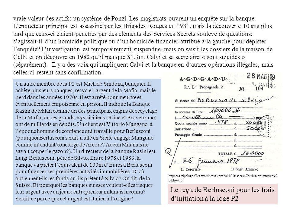 Le reçu de Berlusconi pour les frais d'initiation à la loge P2