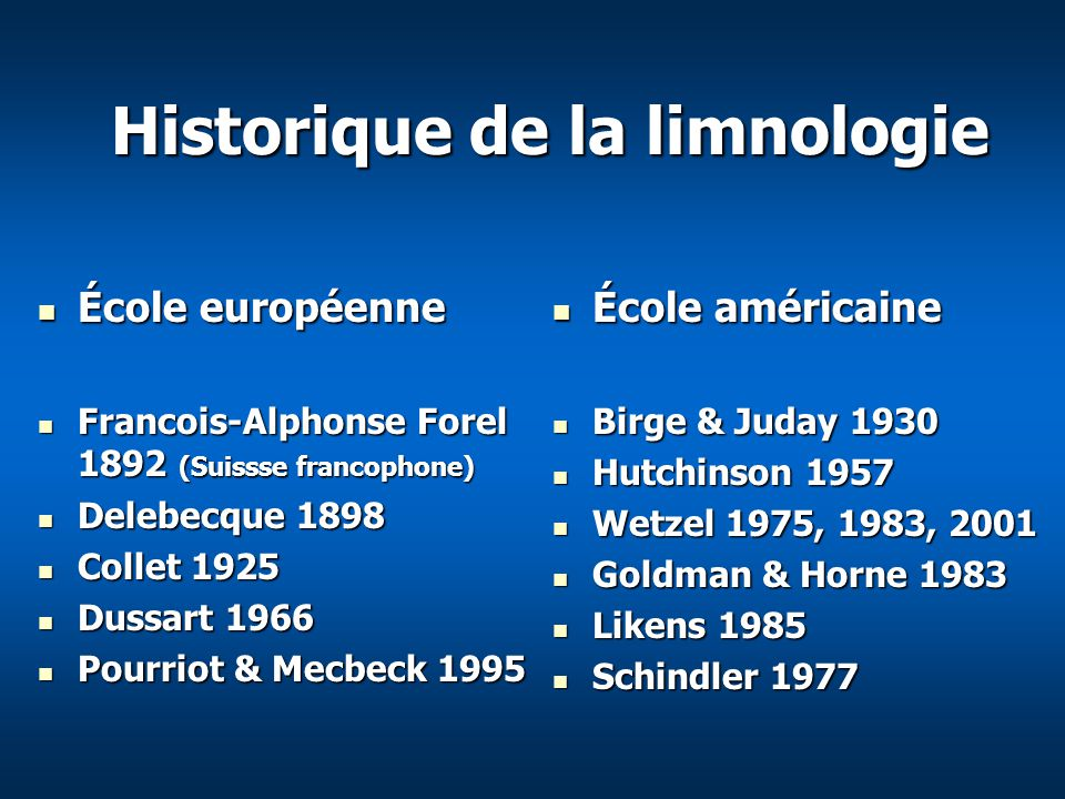 Historique de la limnologie