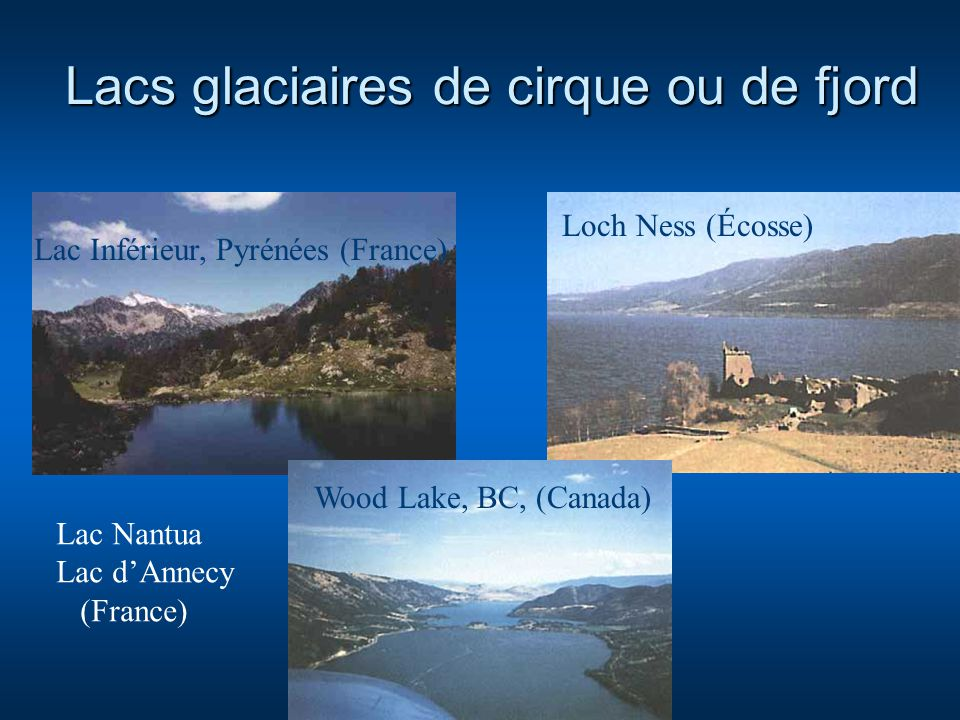 Lacs glaciaires de cirque ou de fjord