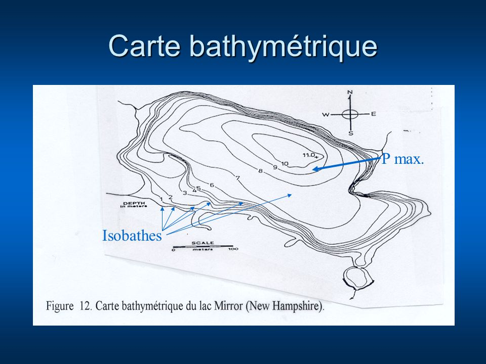 Carte bathymétrique P max. Isobathes