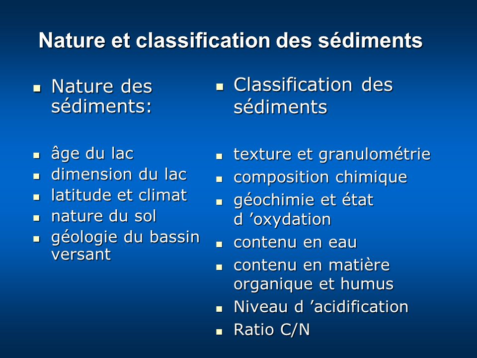 Nature et classification des sédiments