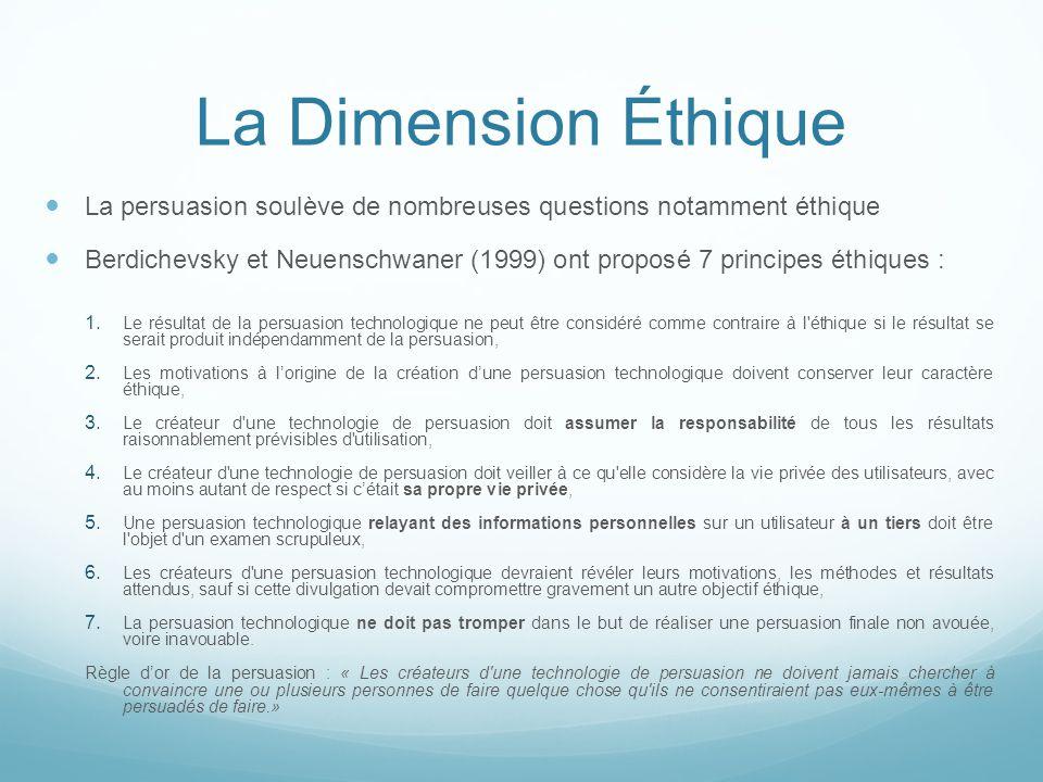 La Dimension Éthique La persuasion soulève de nombreuses questions notamment éthique.